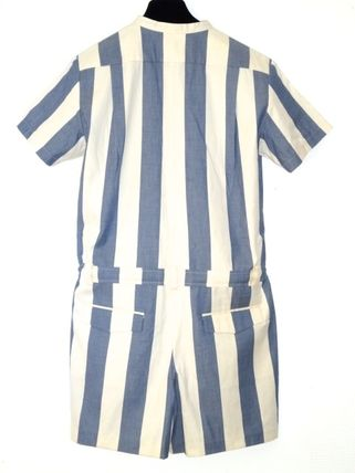 MAISON KITSUNE Short Dungarees Stripes Casual Style Cotton Short Sleeves