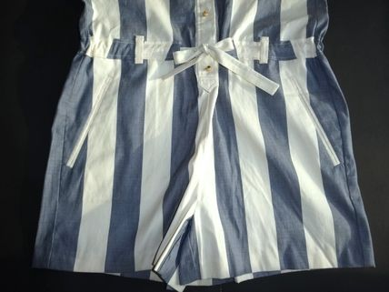 MAISON KITSUNE Jumpsuits & Rompers Short Dungarees Stripes Casual Style Cotton Short Sleeves 5