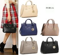 FURLA LINDA Saffiano 2WAY Plain Handbags