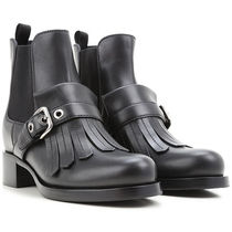 PRADA Round Toe Leather Block Heels Chelsea Boots Fringes