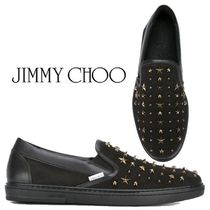 Jimmy Choo Star Studded Plain Leather Loafers & Slip-ons