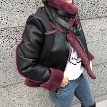 Faux Fur Blended Fabrics Plain Medium Fur Leather Jackets