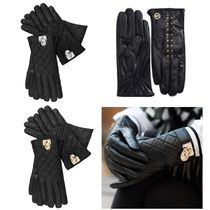 Michael Kors HAMILTON Studded Plain Leather Leather & Faux Leather Gloves