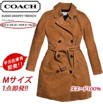 Coach Suede Plain Long Elegant Style Trench Coats