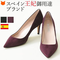 PURA LOPEZ Suede Plain Pin Heels Office Style Pointed Toe Pumps & Mules