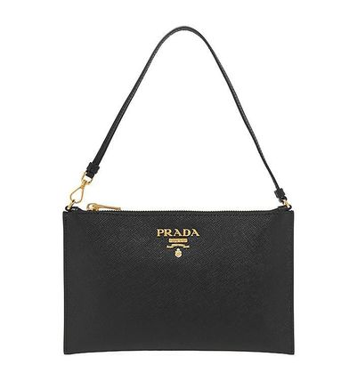 Black Leather Shoulder Clutch Bag
