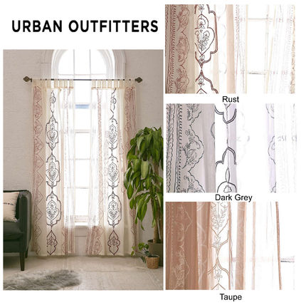 Length embroidery cotton curtain