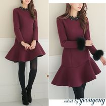 Flared Bi-color Long Sleeves Plain Medium Party Dresses