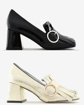 Jeffrey Campbell Square Toe Plain Leather Block Heels Office Style