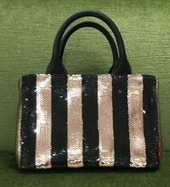 PRADA CANAPA Stripes Casual Style 2WAY Bi-color Leather With Jewels Totes