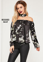 Missguided Flower Patterns Elegant Style Bandeau & Off the Shoulder