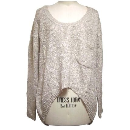 Casual Style Long Sleeves Plain Sweaters