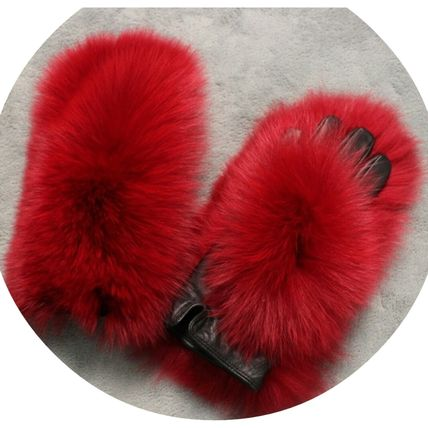 Existence of presence Fluffy red Fox Fur & Sheep leather