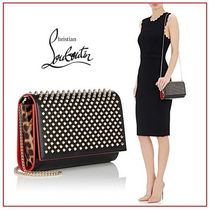 Christian Louboutin Paloma Leopard Patterns Studded 2WAY Leather Clutches