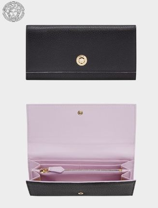 Calfskin Bi-color Plain Long Wallets