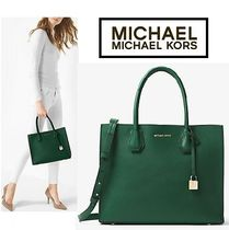 Michael Kors MERCER A4 2WAY Plain Leather Office Style Dark Brown Totes