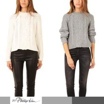 3.1 Phillip Lim Crew Neck Cable Knit Short Wool Long Sleeves Cropped