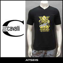Just Cavalli Street Style V-Neck Other Animal Patterns Cotton