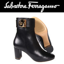 Salvatore Ferragamo Wedge Plain Leather Wedge Boots