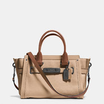 Coach SWAGGER Casual Style 2WAY Plain Leather Handbags