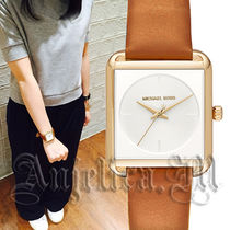 Michael Kors Casual Style Leather Square Quartz Watches Analog Watches