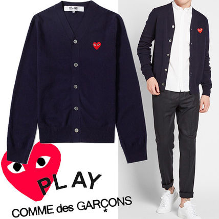 PLAY red heart knit cardigan navy