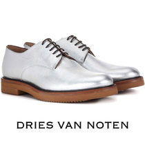 Dries Van Noten Platform Round Toe Lace-up Casual Style Plain Leather
