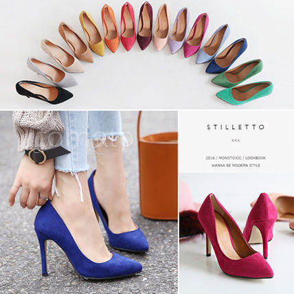 Suede Pin Heels Pointed Toe Pumps & Mules