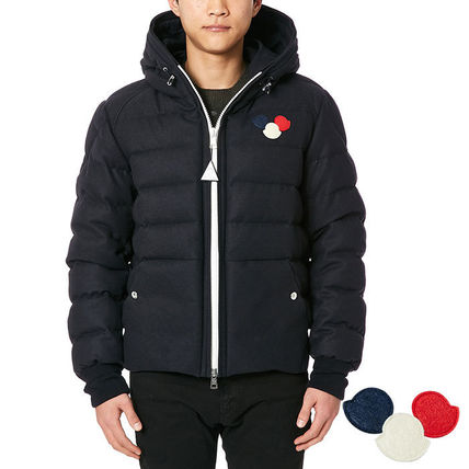 MONCLER 16AW ASPERGE logo patch down jacket _NAVY