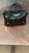 BALENCIAGA CITY A4 2WAY Plain Leather Totes