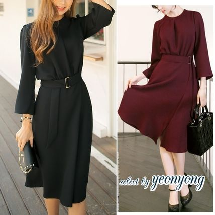Flared Long Sleeves Plain Long High-Neck Midi Party Dresses