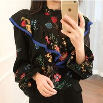 Flower Patterns Casual Style Peplum Tassel Cropped Cotton