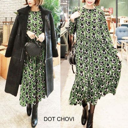 Flower Patterns Casual Style Flared Long Sleeves Long