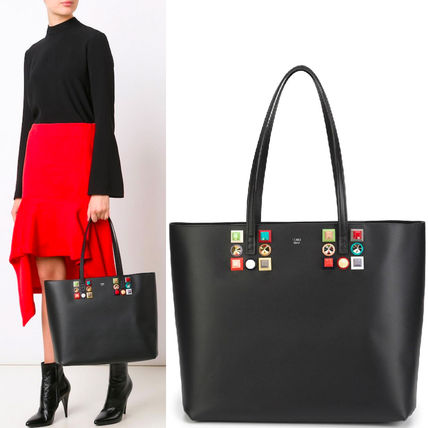 FE 1306 LEATHER TOTE BAG WITH MULTICOLOR STUDS