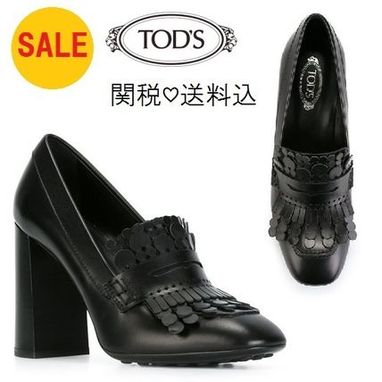 TOD'S Plain Leather Chunky Heels High Heel Pumps & Mules