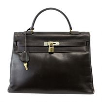HERMES Kelly Dark Brown/GHW Box Calfskin Vintage Box 32 Bag