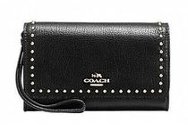 Coach Studded Plain Leather Smart Phone Cases