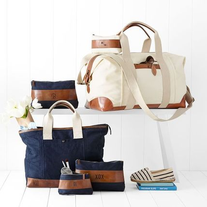 Unisex Canvas A4 2WAY Plain Boston & Duffles