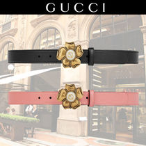 GUCCI Leather With Jewels Elegant Style Belts