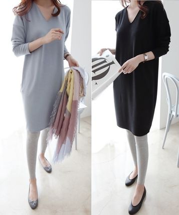 V-Neck Long Sleeves Plain Cotton Medium Dresses