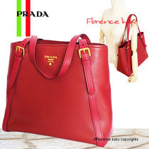 PRADA Rubino Red Vitello Phenix Leather Tote Bag