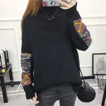 Crew Neck Casual Style Street Style Long Sleeves Plain