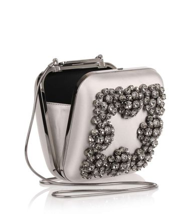 3WAY Plain Party Style With Jewels Clutches