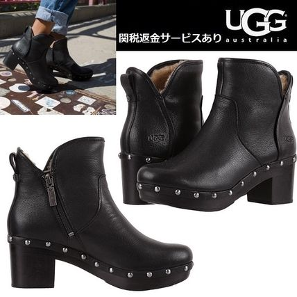UGG Australia Casual Style Studded Plain Leather Block Heels
