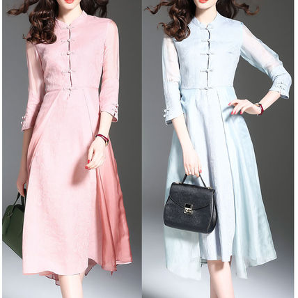 Crew Neck Silk Flared Cropped Plain Long Party Style Dresses
