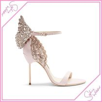 SOPHIA WEBSTER Open Toe Plain Leather Pin Heels With Jewels Heeled Sandals