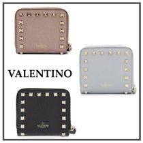 VALENTINO Plain Leather Folding Wallet Folding Wallets