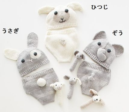 Pottery Barn baby knits hats & diaper cover & rattle 3 Set