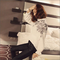 Flower Patterns Street Style Long Sleeves Cotton Medium