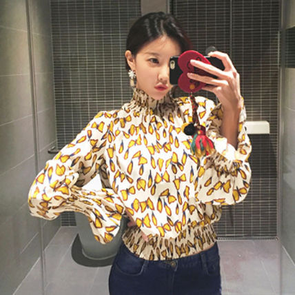 Shirts & Blouses Street Style Long Sleeves Other Animal Patterns Medium 2